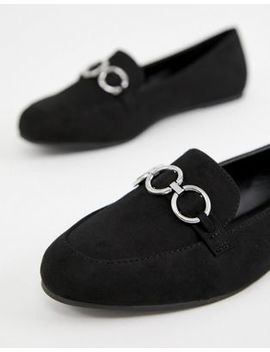 New Look Wide Fit Hardware Loafer In Black by New Look