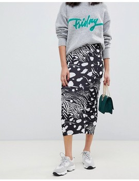 Asos Design Animal Print Ruched Midi Skirt by Asos Design
