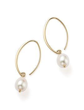 Simple Sweep Earrings With Cultured Freshwater Pearl Drops In 14 K Yellow Gold, 8mm   100 Percents Exclusive by Bloomingdale's