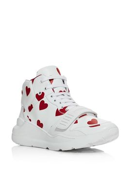 Women's Heart Print Sneakers by Burberry