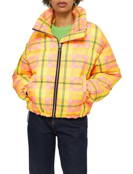 Bright Check Puffa Jacket by Topshop