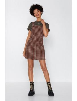Stack The Check Pinafore Dress by Nasty Gal