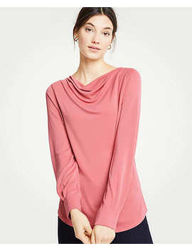 Petite Cowl Neck Long Sleeve Top by Ann Taylor