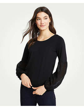 Ponte Clip Dot Lantern Sleeve Top by Ann Taylor