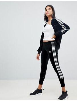 Adidas Originals Three Stripe Leggings In Black Velvet by Adidas