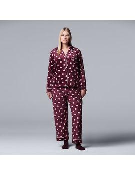 Plus Size Simply Vera Vera Wang 3 Piece Velour Top & Pants Pajama Set by Kohl's