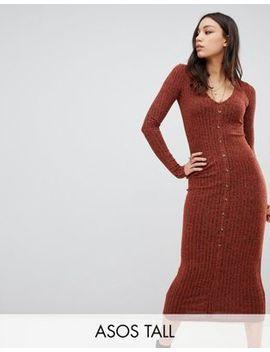 Asos Design Tall Marl Rib Button Through Midi Dress by Asos Design