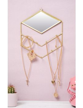 Gold Diamond Jewellery Holder With Mirror by Prettylittlething