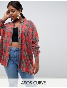 Asos Design Curve Tartan Check Boyfriend Shirt by Asos Design