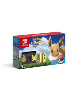 Nintendo Switch Eevee Edition Bundle With Pokemon: Let's Go, Eevee! + Poke Ball Plus, Gray/Yellow, Hacskfalg by Nintendo