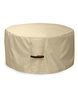 Porch Shield 600 D Heavy Duty Patio Round Fire Pit/Table/Bowl Cover 36 Inch, 100 Percents Waterproof, Beige by Porch Shield