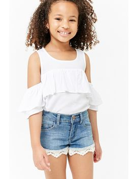 Girls Ruffle Open Shoulder Top (Kids) by Forever 21