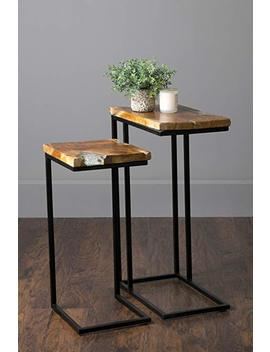"""East At Main Beloit Icy Brown Teakwood Rectangular Nesting Accent Table, (10"""" L X 17"""" W X 25"""" H) by East At Main"""