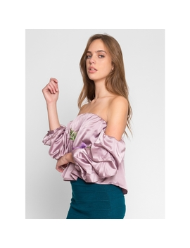 Applique Off Shoulder Satin Top by Wet Seal