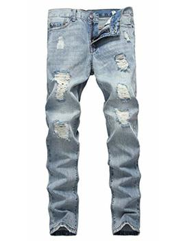 Nitagut Men's Ripped Slim Fit Tapered Leg Jeans by Nitagut