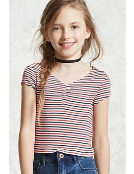 Girls Ribbed Striped Tee (Kids) by Forever 21