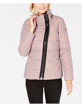 Asymmetrical Velvet Puffer Coat by Calvin Klein
