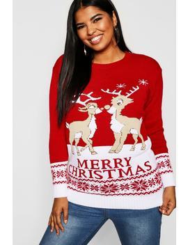 Plus Reindeers Christmas Jumper by Boohoo