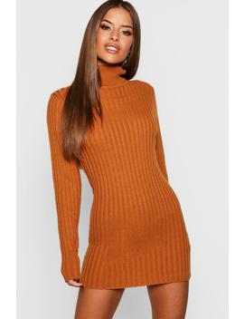 Petite Ribbed Roll Neck Jumper Dress by Boohoo
