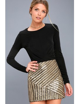Saturday Night Diva Black And Gold Sequin Mini Skirt by Lulus