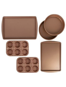 Baker Eze 6 Pc Copper Nonstick Bakeware Set, Muffin Cake & Cookie Pans by Baker Eze