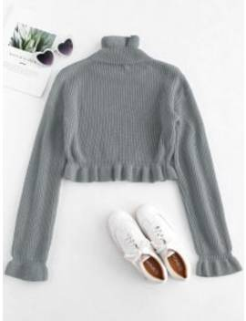 Solid Color Ruffles Crop Sweater   Gray L by Zaful
