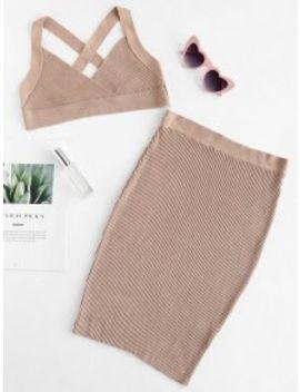 Criss Cross Crop Top And Skirt Set   Light Khaki L by Zaful