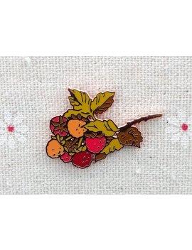 "Raspberry Branch Pin // Cloisonne Hard Enamel Rose Gold / Copper Lapel Pin 1.25"" // Raspberry Enamel Pin by Etsy"