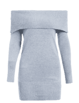 Off The Shoulder Overlay Sweater Dress   Light Gray by Zaful