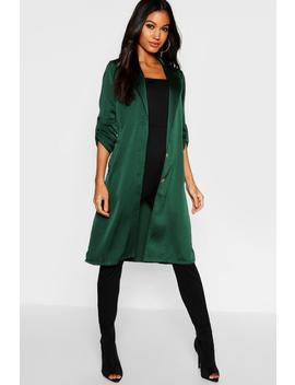 Satin Button Front Duster by Boohoo