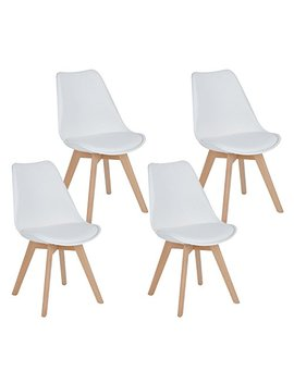 Ihouse Homy Casa Dining Chair Set Of 4 Tulips Natural Wood Legs Design Mid Back Leather Padded Kitchen Chairs With Cushion (White) by Ihouse