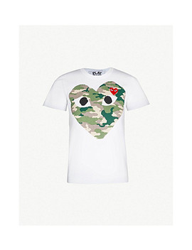Big Heart Camouflage Cotton Jersey T Shirt by Comme Des Garcons Play