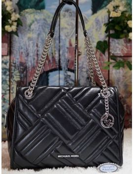 Nwt Michael Kors Kathy Large Satchel Shoulder Bag In Black Quilted Leather $498 by Michael Kors