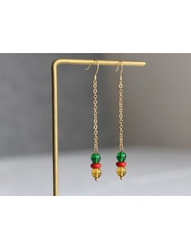 Long Chain Drop Earrings Multi Coloured Beads Earrings Everyday Minimal Earrings Minimalist Jewellery Bohemian Holiday Earrings Gift For Her by Etsy