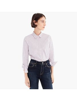 Petite Slim Stretch Perfect Shirt In Meyer Tattersall by J.Crew