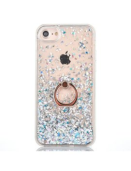 I Phone 6 Plus/6 S Plus Case [With Free Tempered Glass Screen Protector],Mo Beauty® Flowing Liquid Floating Flowing Bling Shiny Sparkle Glitter Crystal Clear Plastic Hard Case Protective Shell Case Cover For Apple I Phone 6 Plus/6 S Plus (White) by Mo Beauty