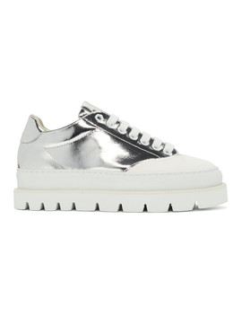 Silver & White Platform Sneakers by Mm6 Maison Margiela