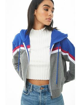 Hooded French Terry Colorblock Jacket by Forever 21