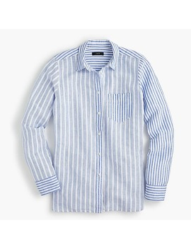 Petite Relaxed Boy Shirt In Cotton Linen Mixed Stripe by J.Crew