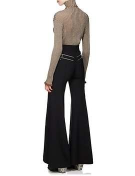 Metallic Rib Knit Silk Blend Turtleneck Sweater by Chloé