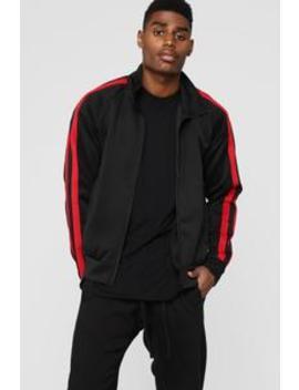 Post Track Jacket   Black/Red by Fashion Nova