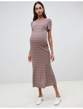 Asos Design Maternity City Maxi Dress In Stripe Rib by Asos Design