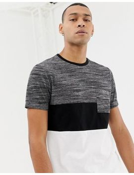 Asos Design Longline T Shirt With Curved Hem With Interest Fabric Contrast Yoke And Pocket by Asos Design