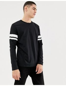 Esprit Long Sleeve Top With Arm Stripe In Black by Esprit