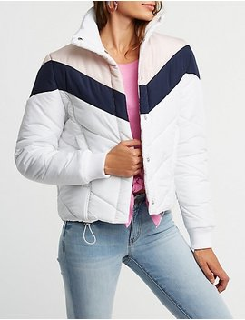 Colorblock Chevron Puffer Jacket by Charlotte Russe