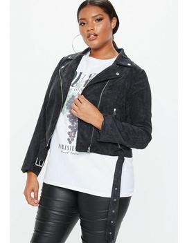 Plus Size Black Cord Aviator Jacket by Missguided