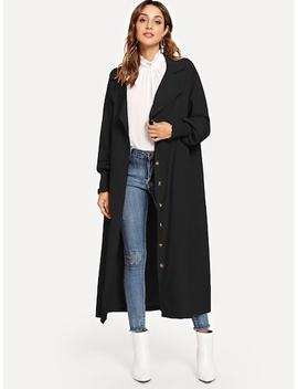 Single Breasted Longline Solid Coat by Sheinside