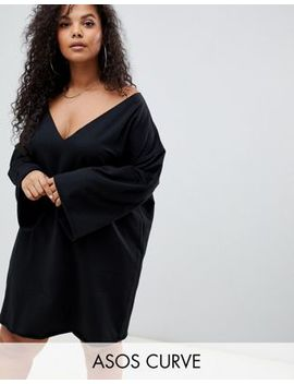Asos Design Curve V Front And Back Raw Edged Sweat Dress by Asos Design