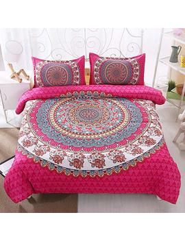 Couture Bridal Boho Tribal Queen Duvet Cover 90x90 Floral Paisley Pint Mandala Pattern Gypsy Bedding Comforter Cover Set With Zipper Closure 3 Pieces 1 Duvet Cover+2 Shams by Couture Bridal