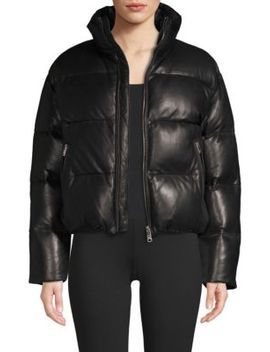 Iris Leather Puffer Jacket by La Marque